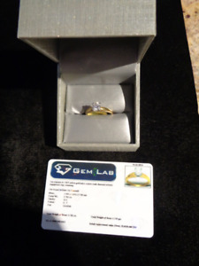 Diamond Ring Solitaire with Appraisal 19K Gold Diamond