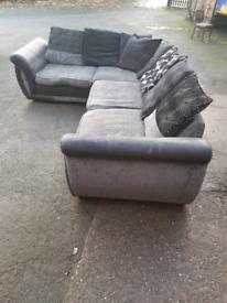 Black and grey shannon style corner sofa