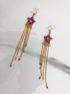 Pink Swarovski Crystal and Gold Star Earrings