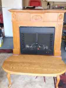 Electric Fire Place & Mantal  (Also) Solid Oak Coffee Table