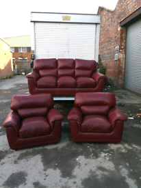 Burgundy 3 seater sofa and 2 chairs