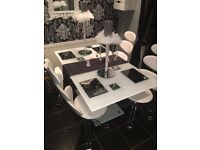 White glass and leather dining table 4 swivel chairs Italian designer kitchen