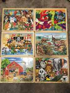 Melissa and Doug wooden jigsaw puzzles - set of six