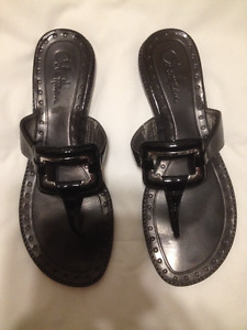 Cole Haan Genuine Black Patent Leather Thong Sandals Sz 8.5M