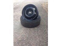 "16"" new steel rim wheel with part worn tyre"