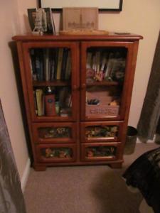 Armoire Dresser Solid Wood 4 drawer 2 door Bookshelf Display