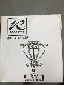 Two light fixtures, one new one used, same model