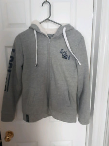 Ladies sweat sweater zip up in front size small