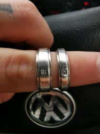 2 silver wedding bands