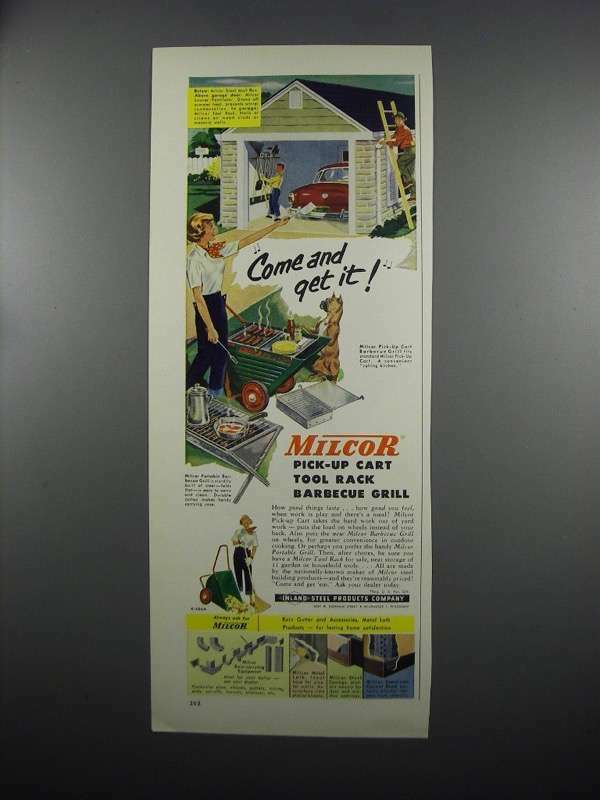 1953 Milcor Pick-up Cart Tool Rack Barbecue Grill Ad