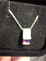 "Amethyst 18"" SS necklace"