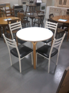 White Table with 4 Matching Chairs