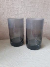 2 CONTEMPORARY GLASS VASES