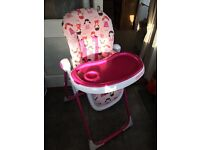 Cosatto girls high chair excellent condition