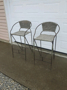 Two 30 Bar Stools Iron Wicker