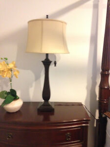 SET OF 2 TABLE LAMPS - ESPRESSO WITH TAUPE SHADES (LIKE NEW)