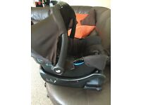 Joie car seat and isofix base with rain cover