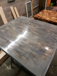 Reclaimed wood coffee tables.