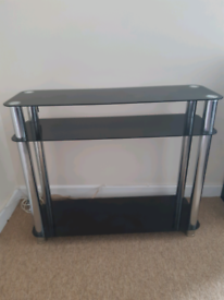 Black and silver tv stand- free