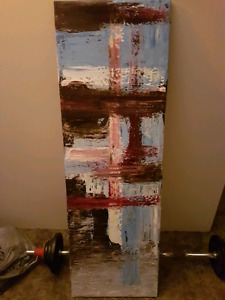 Large blue and red abstract painting $75