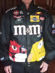 LEATHER NASCAR JACKET.SIZE LARGE.