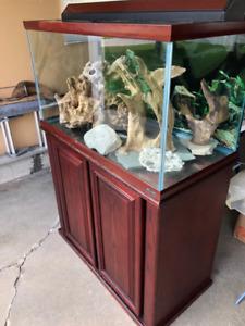 65 Gall Oceanic Aquarium & Wood Stand & Accessories