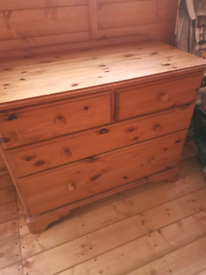 Solid pine 2 over 2 chest of drawers