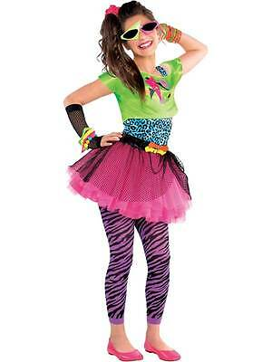 80s Totally Awesome Costume Teen Neon Pink Tutu New Fancy Dress Girls Age 10-14 ()