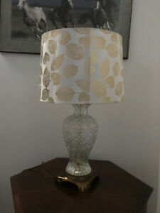Large Crystal Like Glass Table Lamp and Lampshade