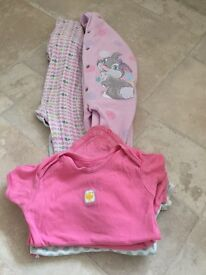 Girls 9-12 month sleepsuits and vests