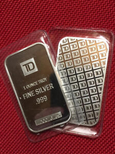 1 oz TD Bank Fine Silver Minted Bars ~ New in Seals