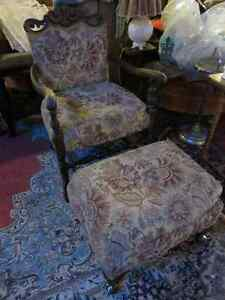 ANTIQUE 1920'S CHAIR AND OTTOMAN PROFESSIONALLY REUPHOLSTEREDGRE