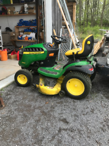 "John Deere D 160 Lawn Mower with 48"" snow blower attachment"