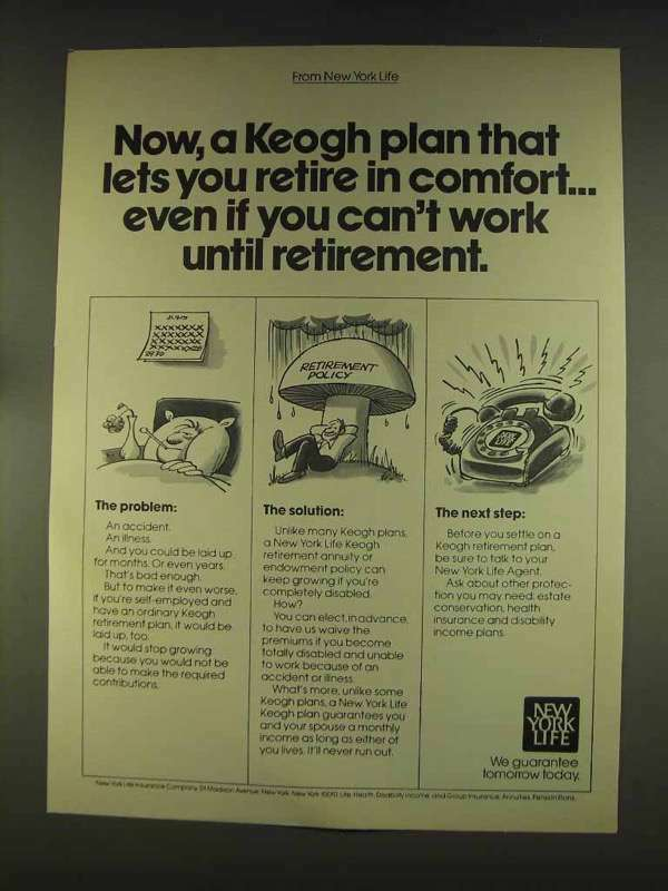 1976 New York Life Insurance Ad - Keogh Plan