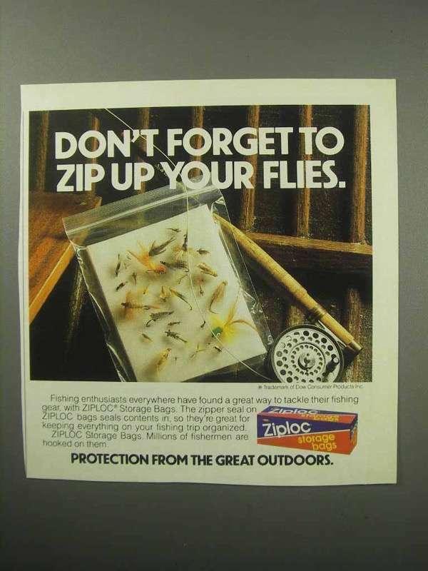 1987 Ziploc Storage Bag Ad - Zip Up Your Flies