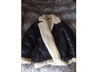 Vintage Men's Shearling Leather Jacket Medium
