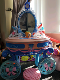girls Cinderella dressing table and stool
