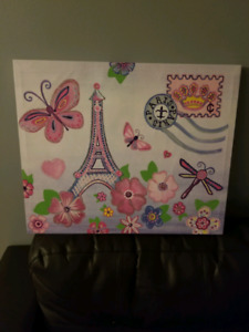 Paris glittery canvas