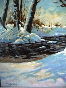 """Early Spring Landscape by T. Callaghan """"Spring Patterns"""", 1960's Stratford Kitchener Area image 3"""