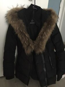 Adali Black Mackage Jacket Coat With Fur Sz Small