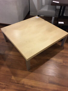 Modern maple stained square coffee table with metal legs