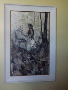 Fabulous Signed Original Oil Painting, LADY ARTIST IN FOREST