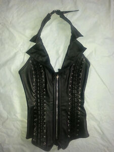 REAL LEATHER CORSET with zipper