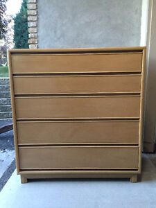 Large Tall Boy Dresser and Matching Night Stand.