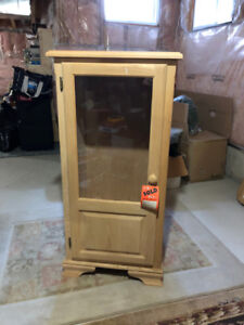 Unfinished Solid Oak Cabinet With Glass Door