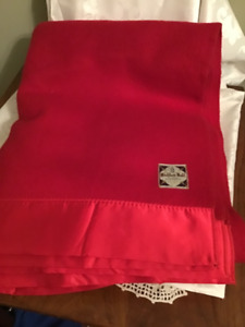 """Vintage Red All Wool Haddon Hall Eatons Blanket 60"""" by 82"""""""
