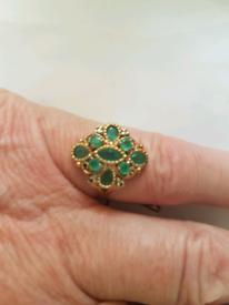 Emeralds & diamond 9ct gold ring