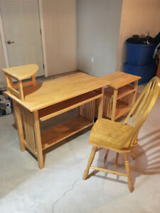 Desk, printer table and chair