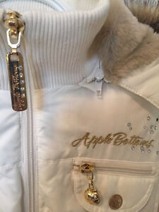 WHITE APPLE BOTTOM BOMBER JACKET WITH FUR & GOLD ACCENTS Windsor Region Ontario image 2