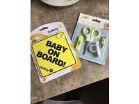 Baby on board and manicure set
